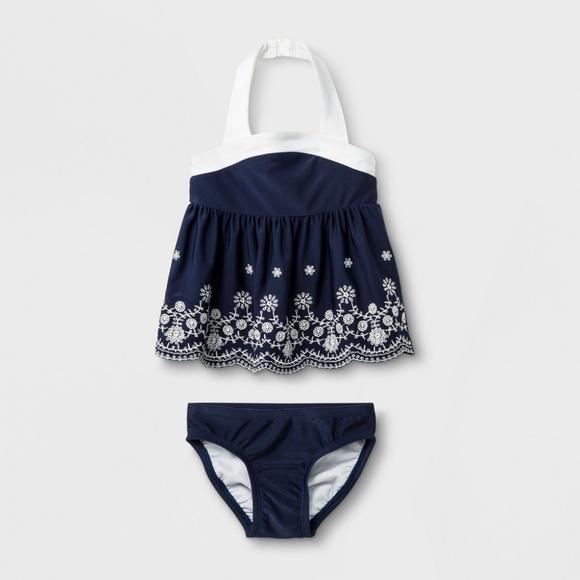 Cat & Jack Other - Baby Girls Navy Blue Detailed Tankini Set